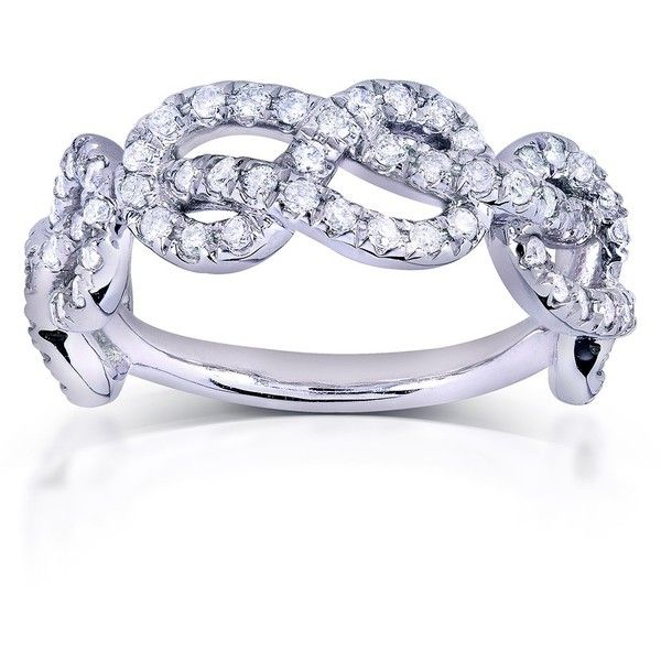 Infinity Knot Diamond Ring 3/4 Carat (ctw) in 14k White Gold ($1,110) ❤ liked on Polyvore featuring jewelry, rings, knot ring, white gold rings, cocktail rings, infinity band ring and diamond rings