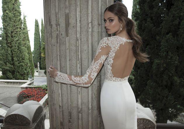 Vestidos De Noiva 2014 New Arrival Sexy Long Sleeves Sheer Lace Mermaid Wedding Dresses Satin Bridal Weddings & Events Gowns