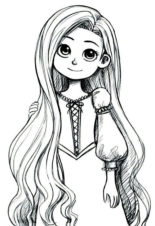 Rapunzel As A Child Cosas Lindas Para Dibujar Imagenes Dibujos A Lapiz Corona Dibujo