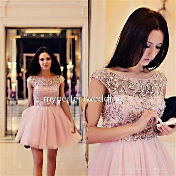 5321235b00 Beaded A Line Light pink Tulle Cap Sleeve Short Prom Dresses Backless Bateau  Neckline Sleeveless Charming Sexy Formal Occasion Gowns Dresses
