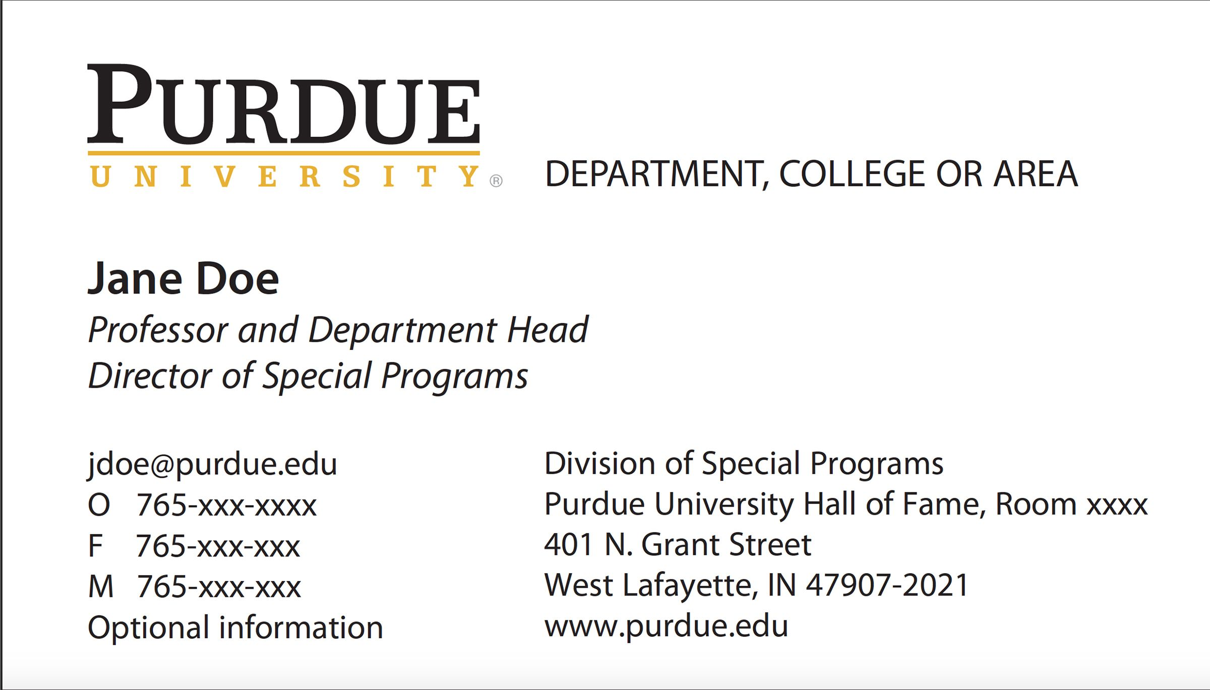 New Business Card Template Now Online Purdue University News With Graduate Student Business Cards Student Business Cards Sample Business Cards Card Template