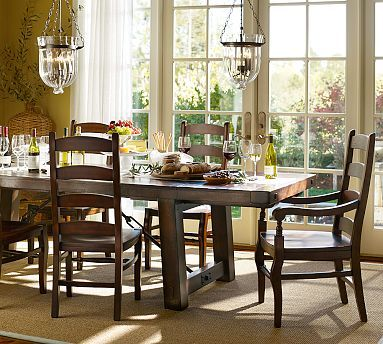 d8a32fc3ff40 Benchwright Table & Wynn Chair Set - Rustic Mahogany stain Dining Table:  86
