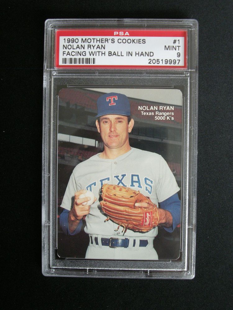 1990 Mothers Cookies Nolan Ryan Texas Rangers Card 1 Psa 9 Mint