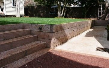 Railroad Ties As Retaining Wall Landscaping Retaining Walls Terraced Patio Ideas Retaining Wall Steps