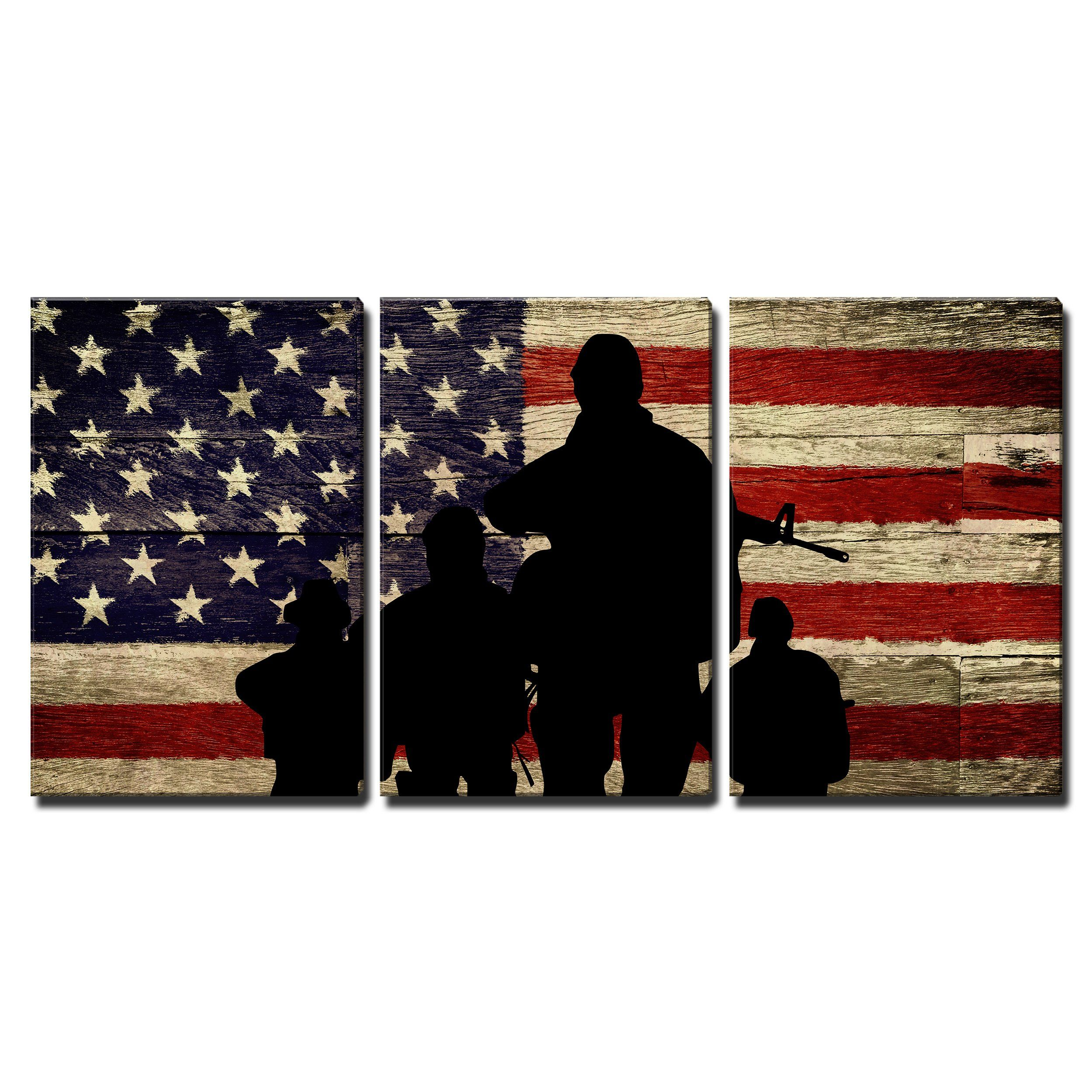 Wall26 3 Piece Canvas Wall Art Silhouette Of Troops On American Flag Background Modern Home De Canvas Art Wall Decor Blue Artwork Canvases Nature Canvas Art