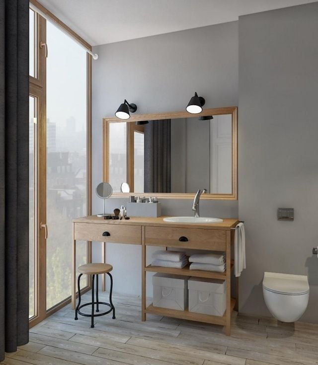 bad skandinavisch ideen holzmöbel waschtisch regale Fliesen - badezimmer gestalten ideen