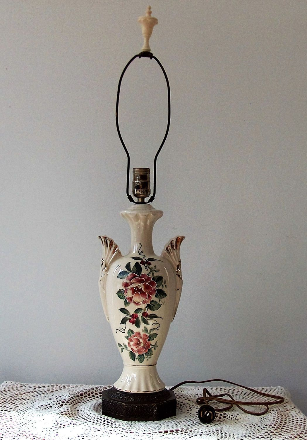 Antique hand rose painted porcelain table lamp by myoldattractions