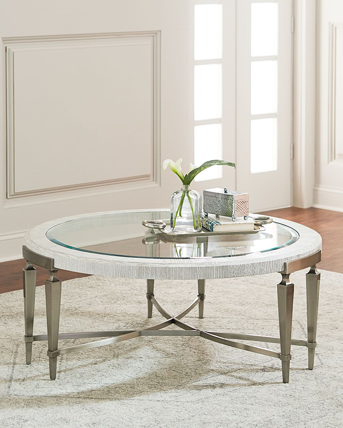 Bernhardt Damonica White Oak Round Coffee Table Round Coffee