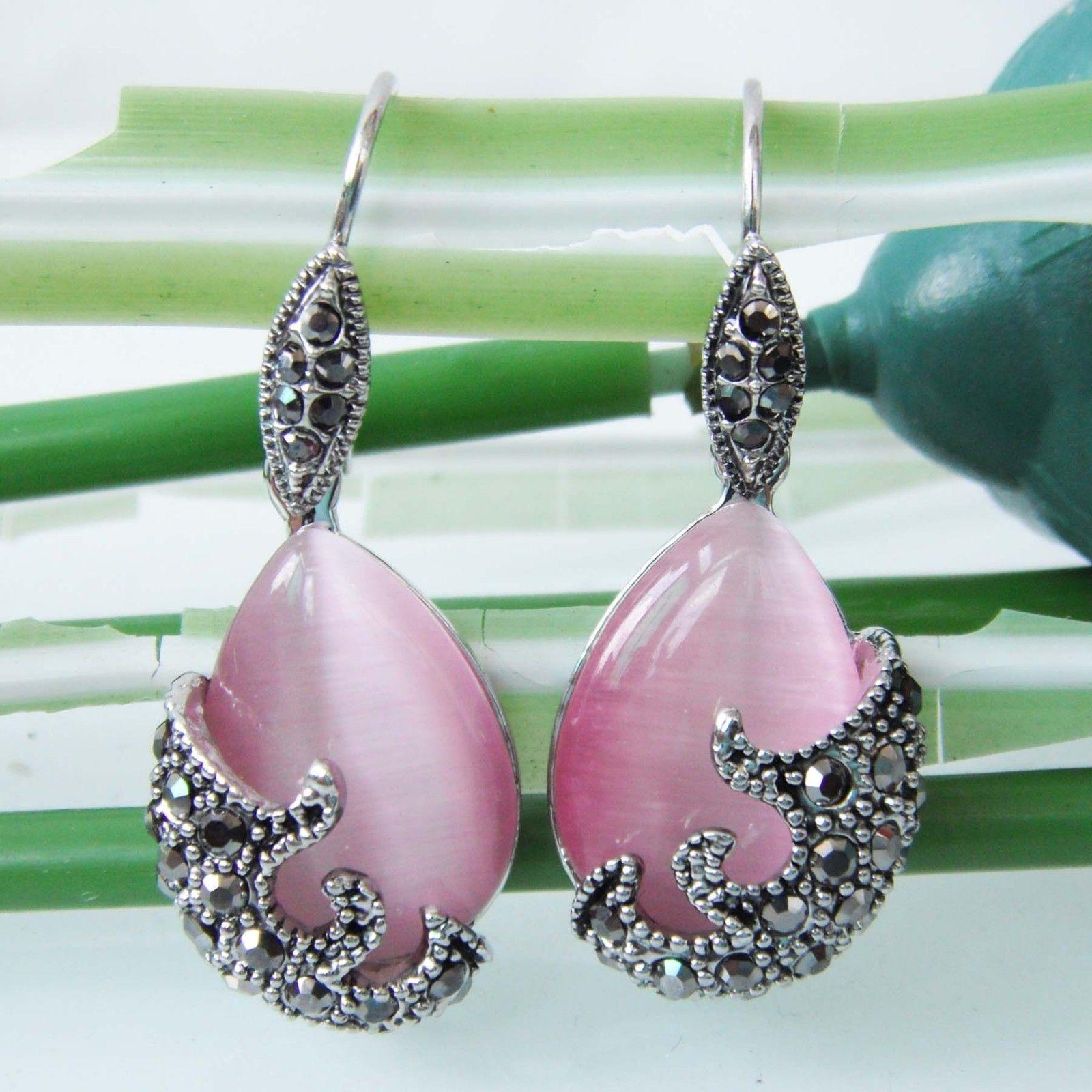 Navachi Vintage Tibetan Silver Pink Opal Crystal Dangle