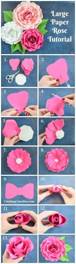 Alora Garden Giant Paper Rose Template & Tutorial #largepaperflowers