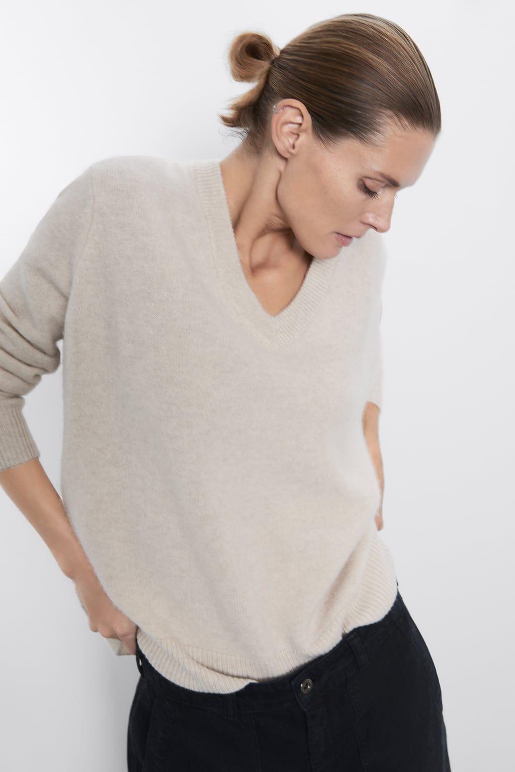 OVERSIZED V NECK CASHMERE SWEATER V neck Sweaters KNITWEAR