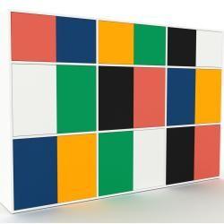 Photo of Wohnwand Weiß – Individuelle Designer-Regalwand: Türen in Nachtblau – Hochwertige Materialien – 226