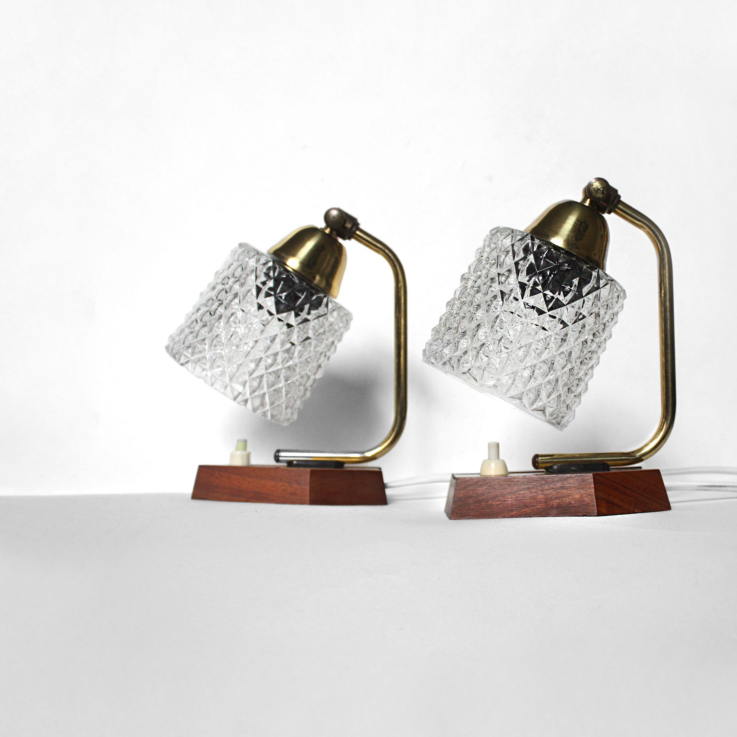 Pair of 1960s table lamps. teak, glass, brass. MCM | Mid ...