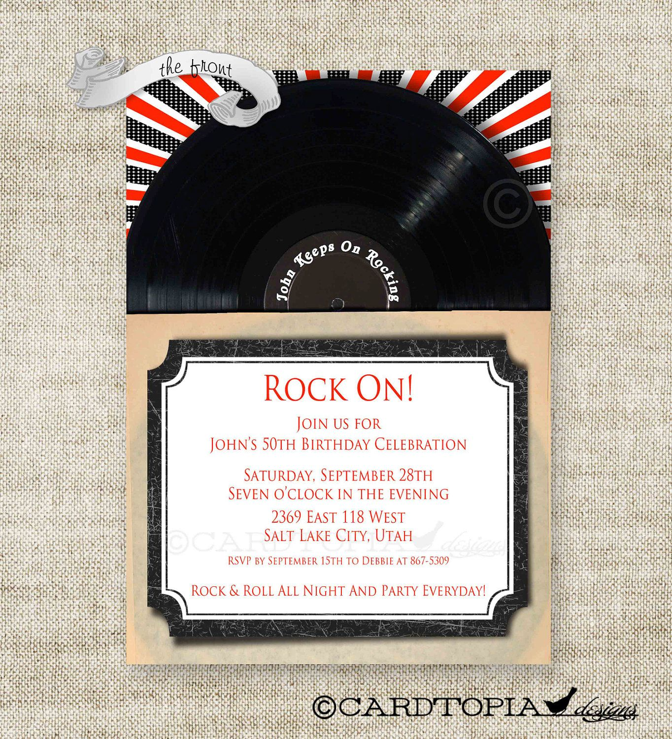 ROCK and ROLL Birthday Party Invitations Retro Vinyl Record Adult ...