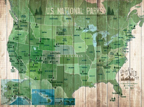 US National Parks Map, Map with Quote, Gift for hiker, Paper ...