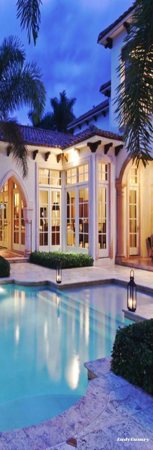 Beachfront Luxury Modern Home Exterior At Night: Luxury Beach House, Mediterranean Homes, Mansions