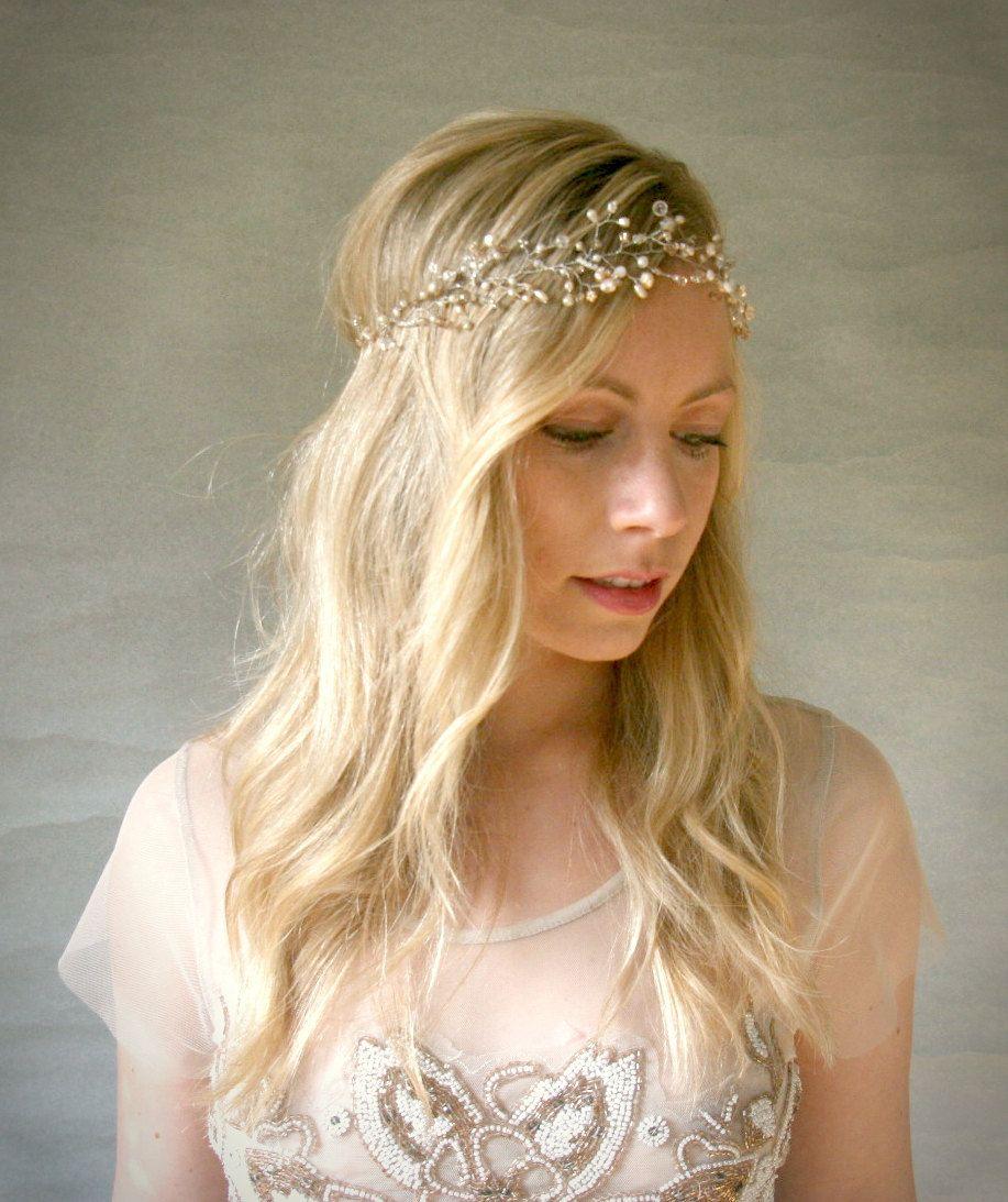 Bridal hair accessories babys breath - Crystal And Pearl Baby S Breath Halo Silver By Elevenskiesstudio