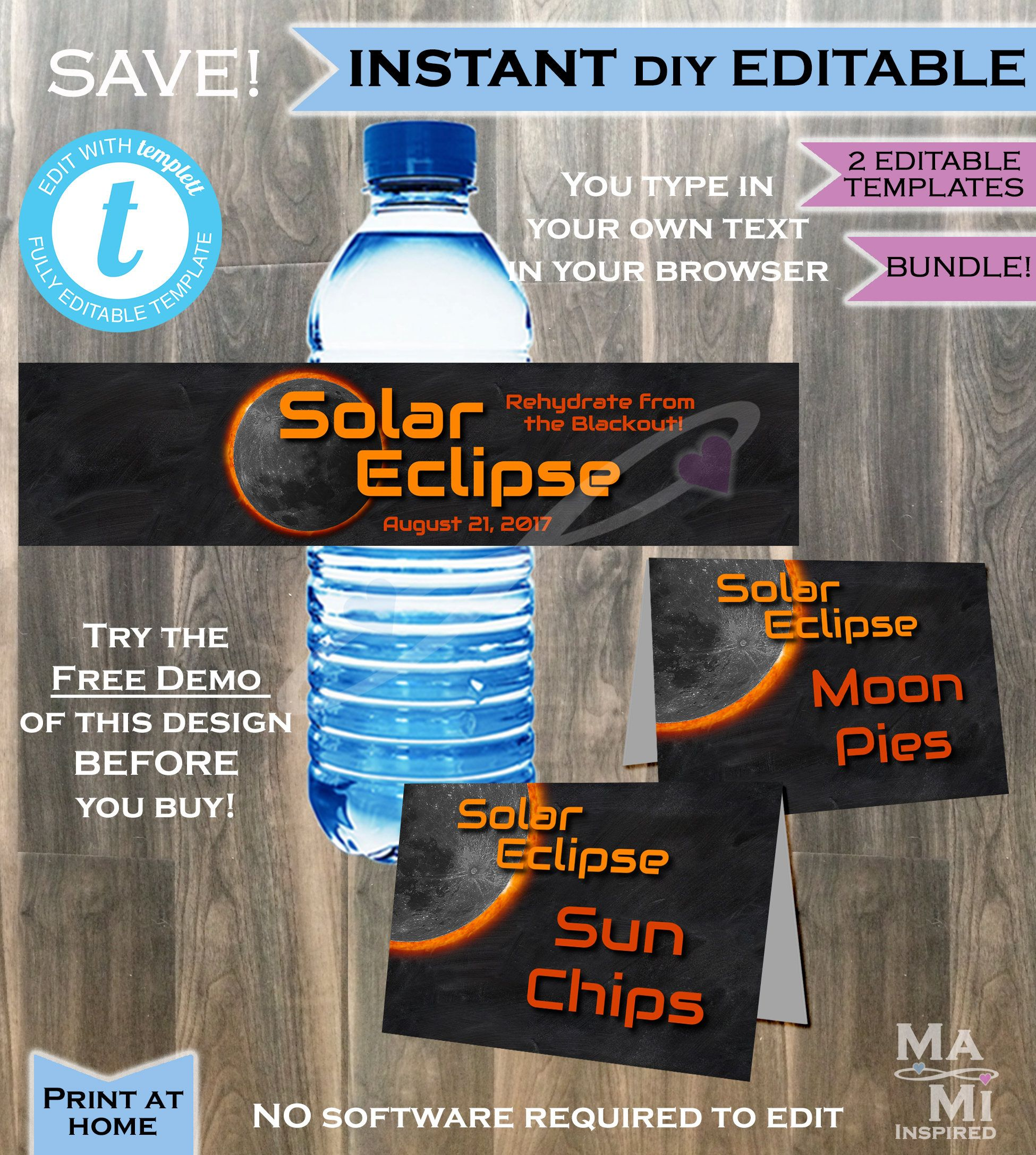 Solar Eclipse Water Bottle Labels Amp Food Tents 2 In 1