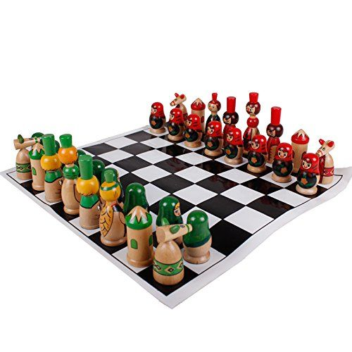 Agirlgle Cartoon Toy Of Wooden Chess Set For Kids With Cute