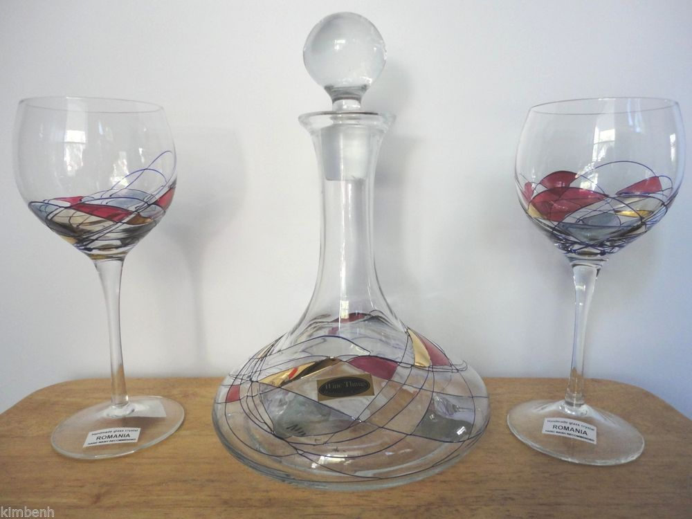 Hand Blown U0026 Painted Romanian Glass Decanter U0026 2 Glasses U0026 Handmade Glass Great Pictures