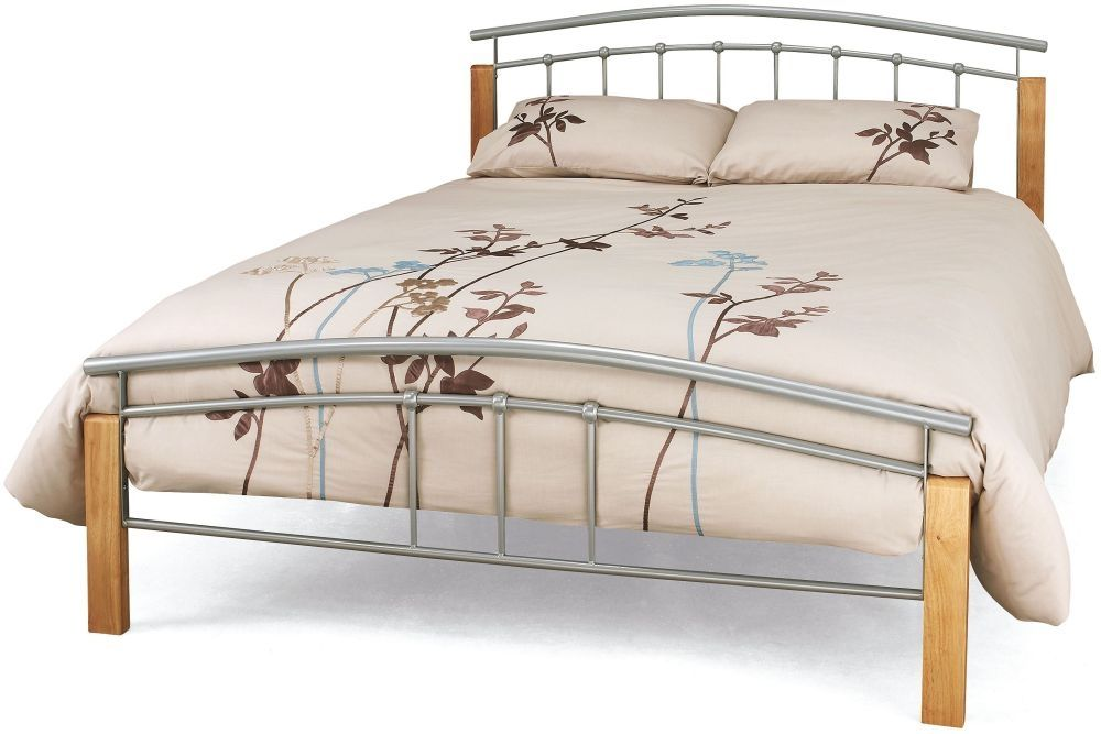 Tetras Beech And Silver Metal Bed Serene Furnishings Bed Frame