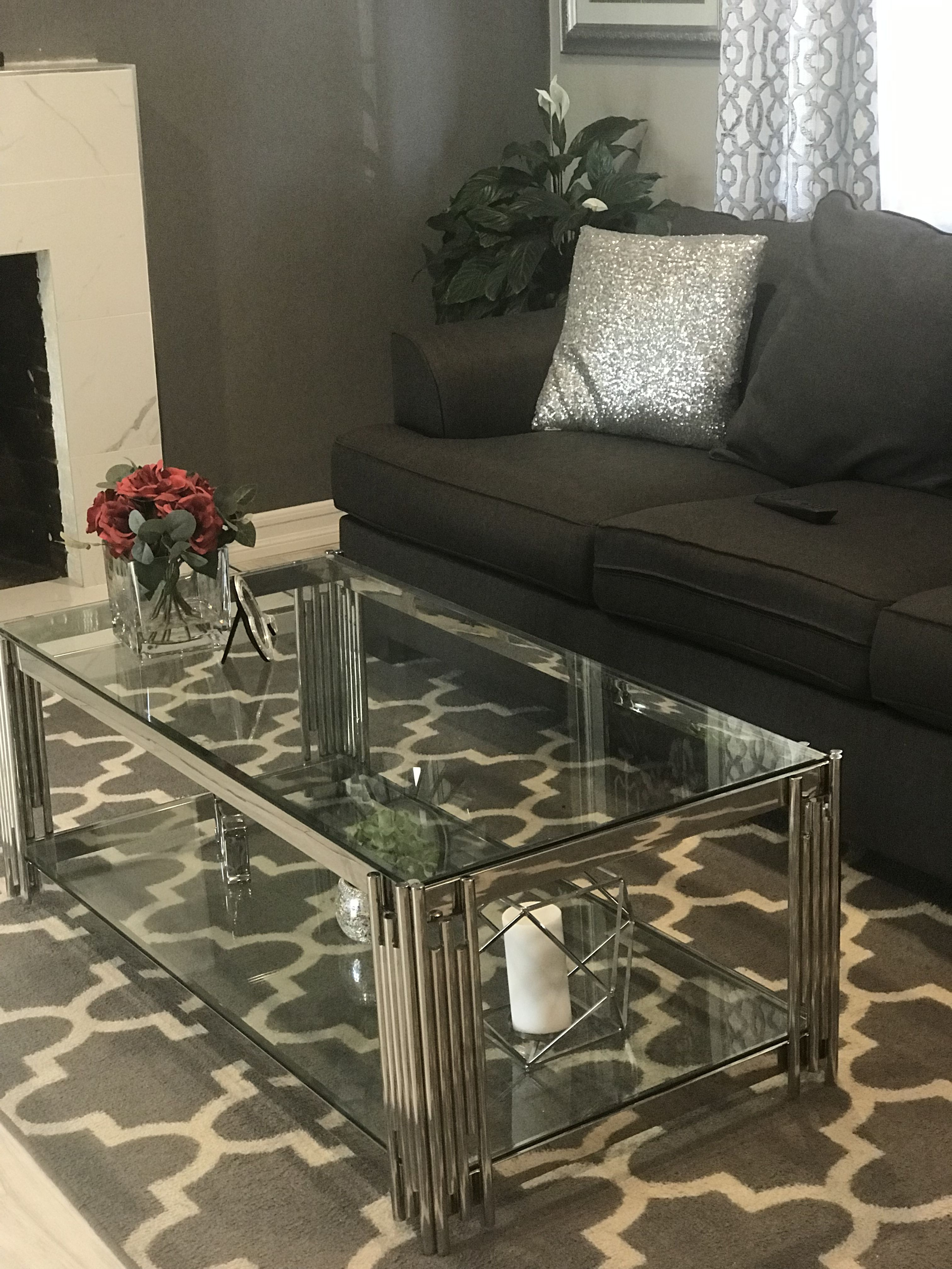 Grey Living Room Glass Coffee Table Decor Glass Coffee Table Decor Glass Coffee Table Decorating Coffee Tables [ 4032 x 3024 Pixel ]