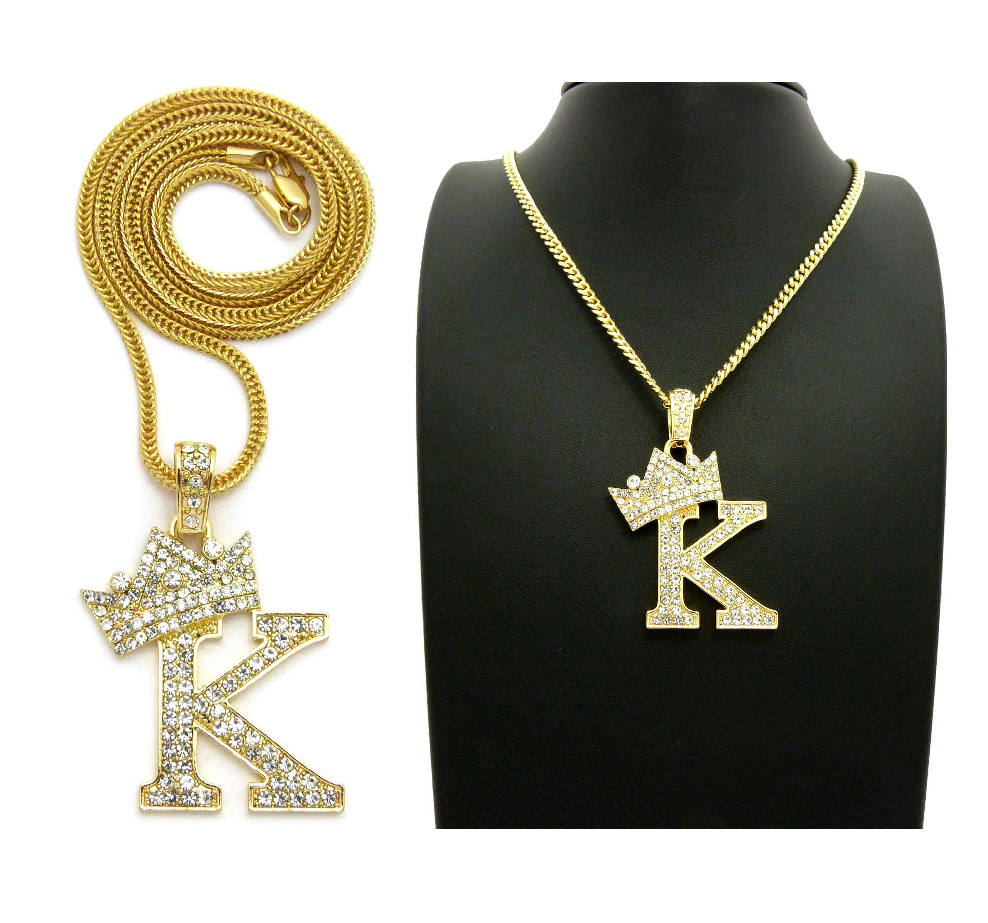 3088a466b3c23 ICED OUT KING 'K' PENDANT & 24