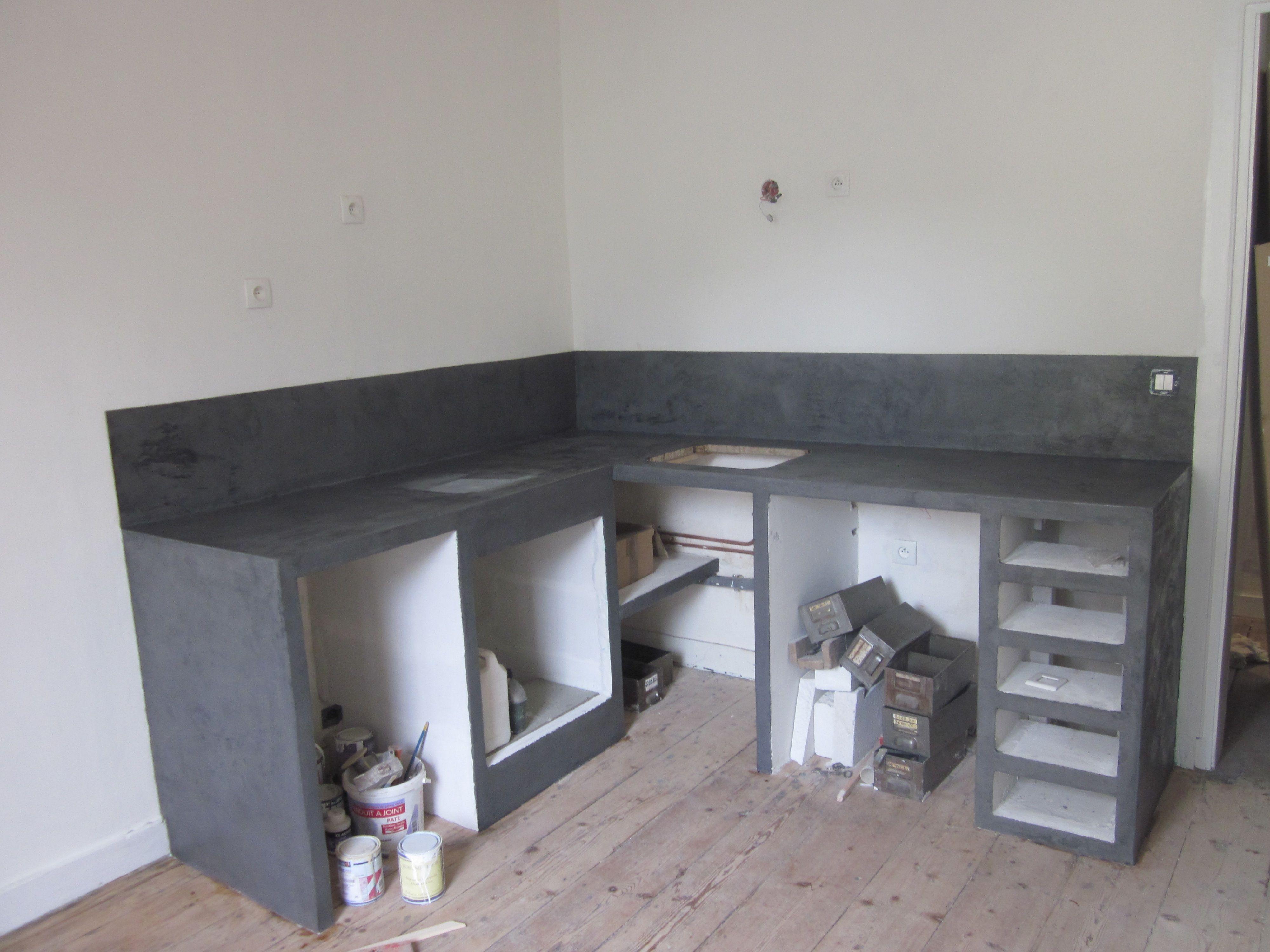 plan de travail de cuisine en b ton alvenaria pinterest salons. Black Bedroom Furniture Sets. Home Design Ideas