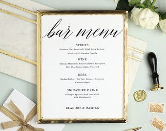 Wedding Bar Menu Template Editable Bar Menu Printable Word Or