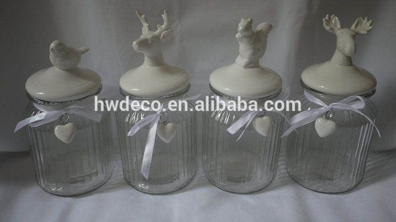 Glass Jar With Ceramic Decorative Lid In Bird And Squirrel And Reindeer Design Buy Glass Jar With Ceramic Bird Lid An Glass Jars Buy Glass Jars Ceramic Birds