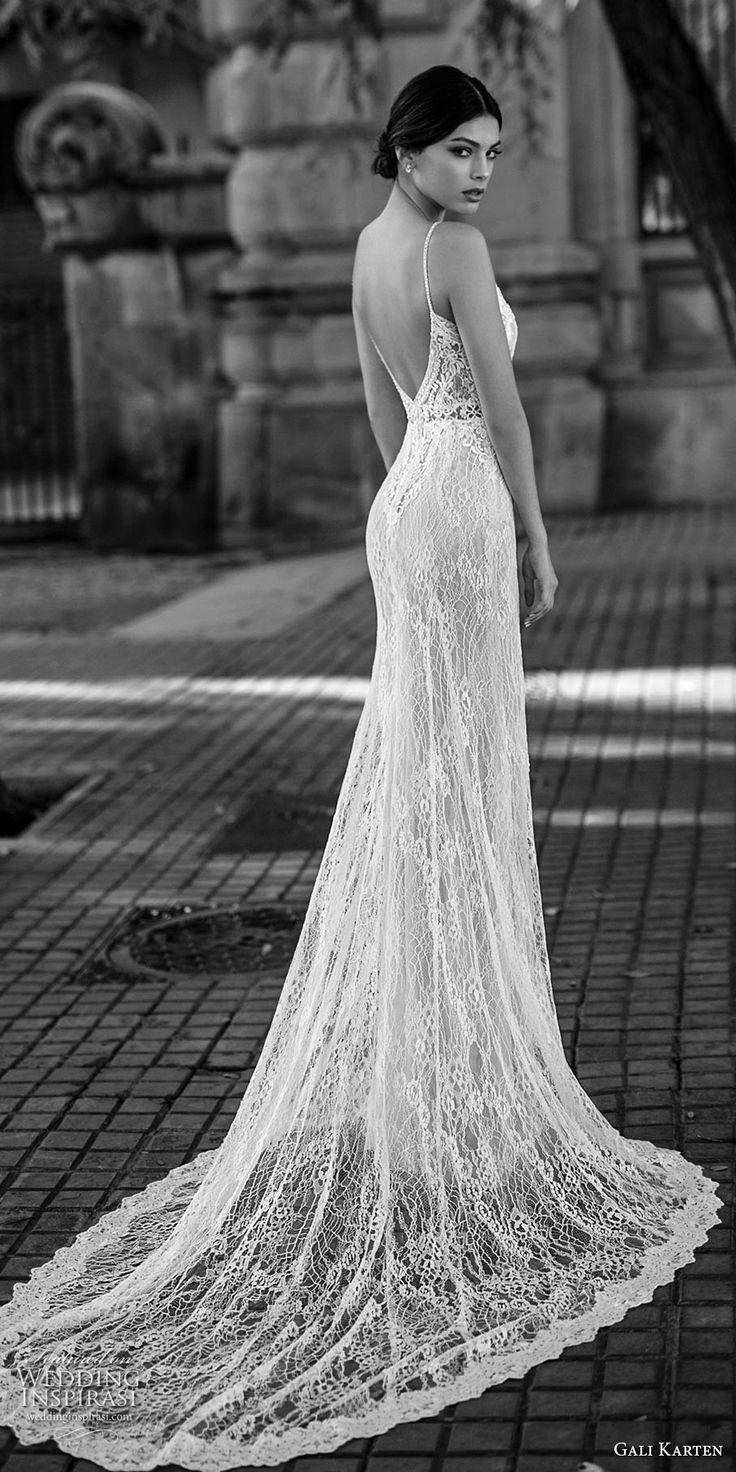Gali karten bridal spaghetti strap v neck full embellishment