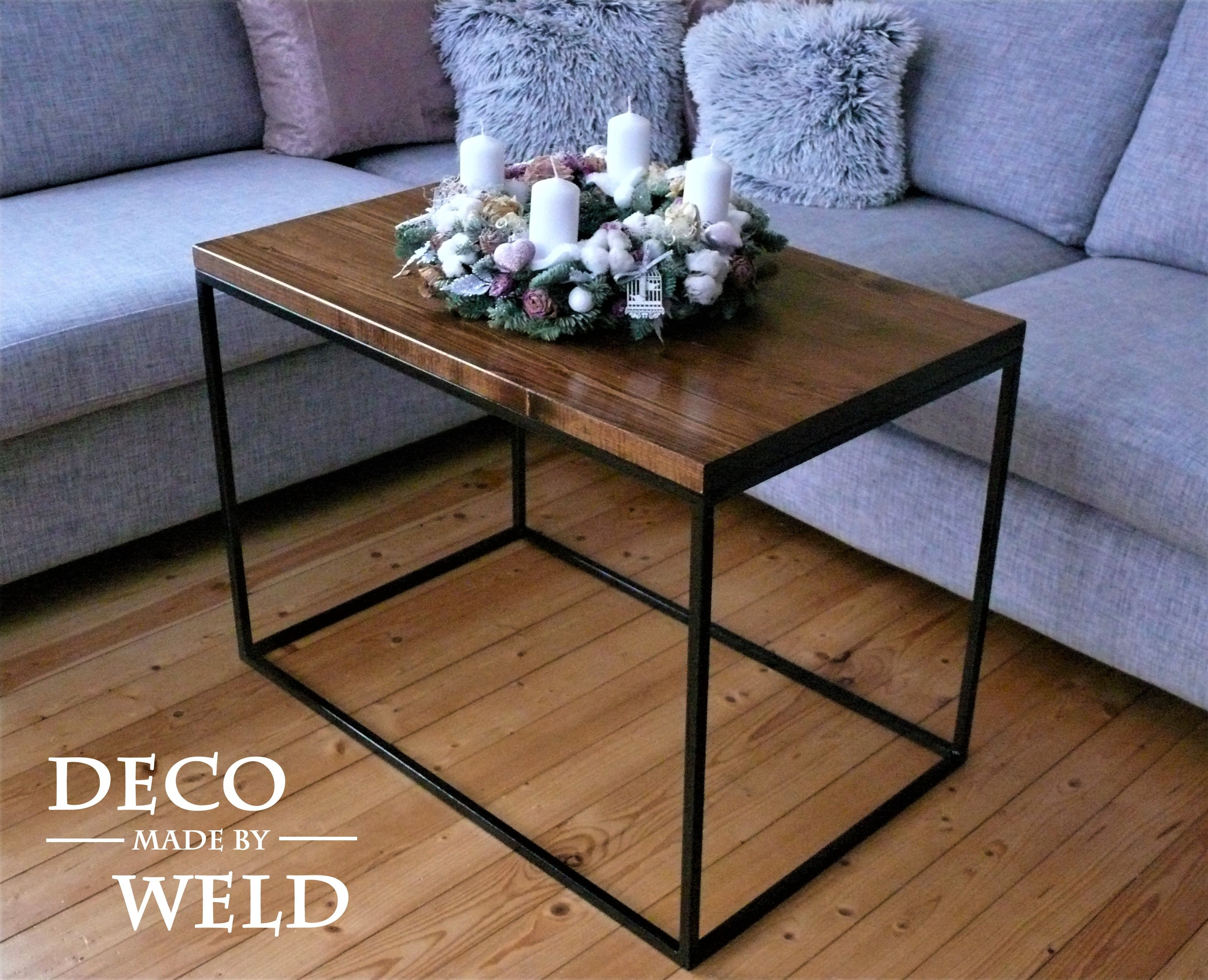 steel wood coffee table length 80 cm