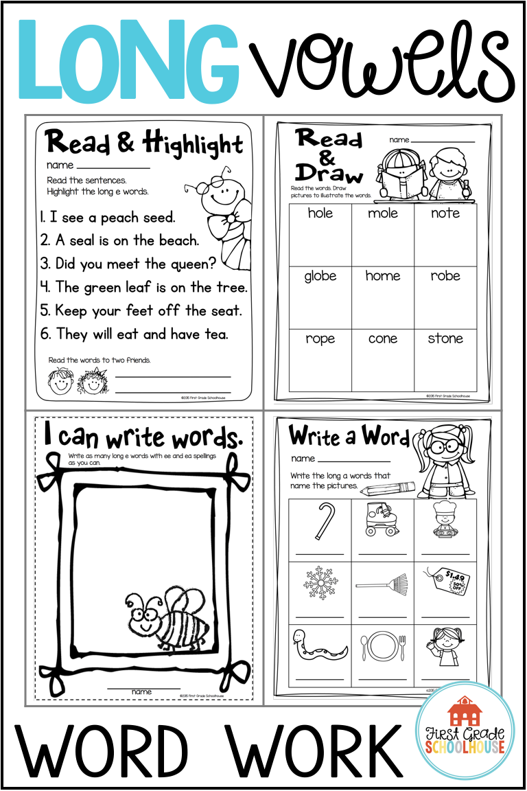 Long Vowels Worksheets and Activities Bundle   Word work [ 1152 x 768 Pixel ]