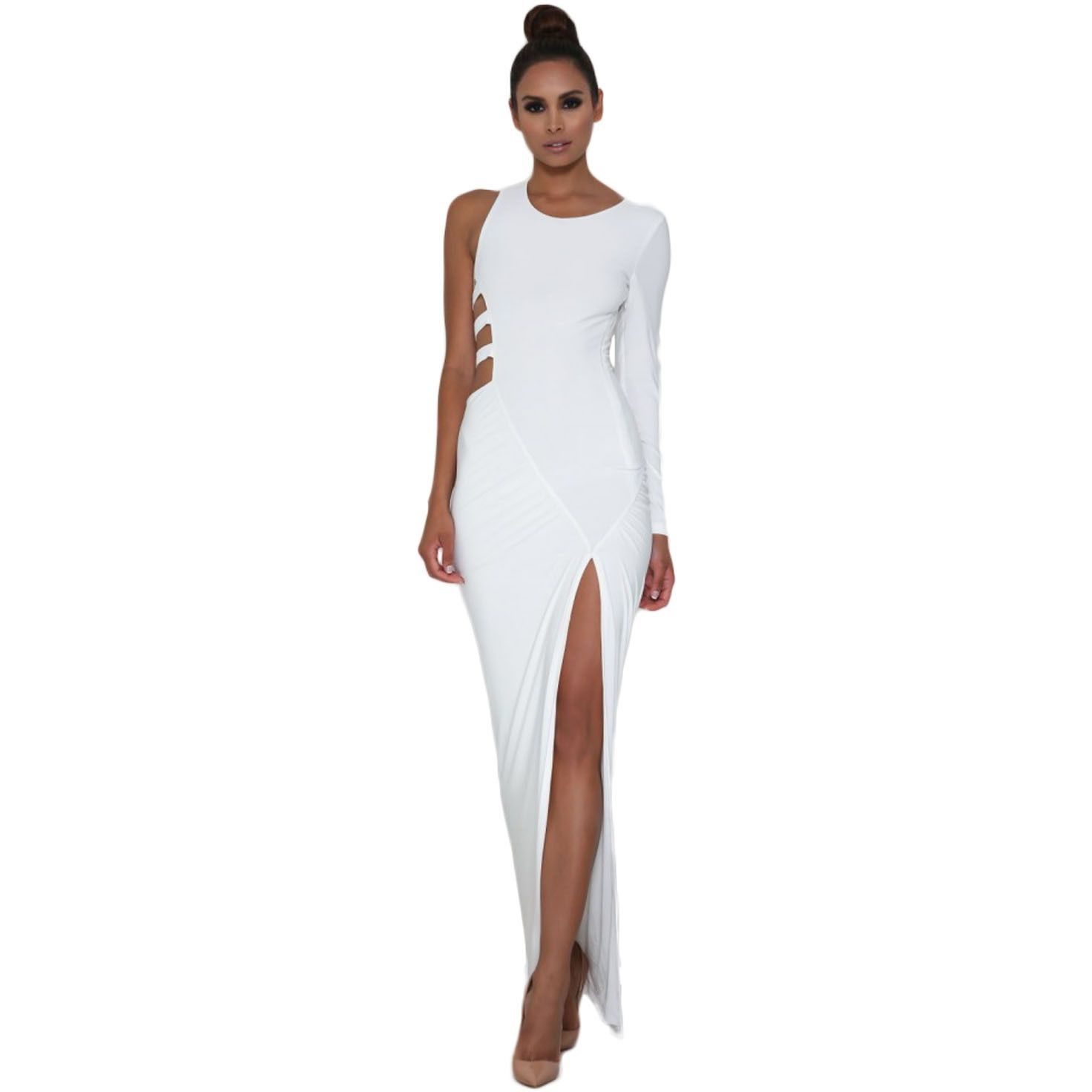 White Single Long Sleeve Cutout Maxi Dress LAVELIQ