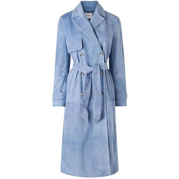 L.K. Bennett Riley Blue Suede Trench Coat (£995) ❤ liked on Polyvore featuring outerwear, coats, turtleneck tops, blue waist belt, suede trench coats, double breasted coat and suede leather coat