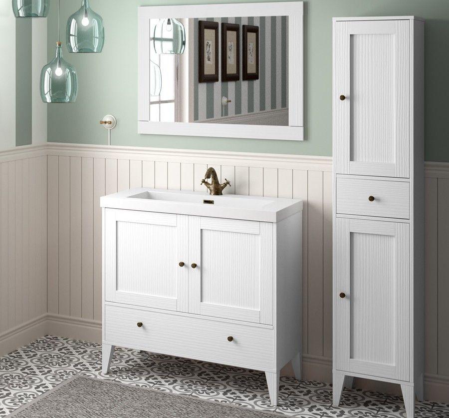 Boheme 90cm Vintage White Vanity Set Vanities Bathroom Retro