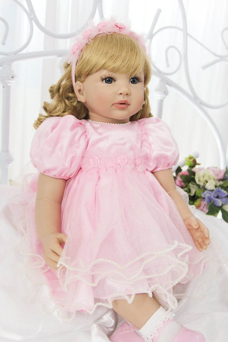 Reborn Silicone Baby Toddler Dolls Blond Hair Real Baby 24inch Doll for Toddlers