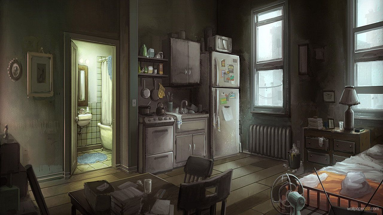 Small messy apartment bedroom - Home Beds Beds Home Bathroom Tables Lamps Bathtubs Chairs Digital Art Artwork Apartments Fan Television Oven Art Wallpaper Desktop Wallpaper