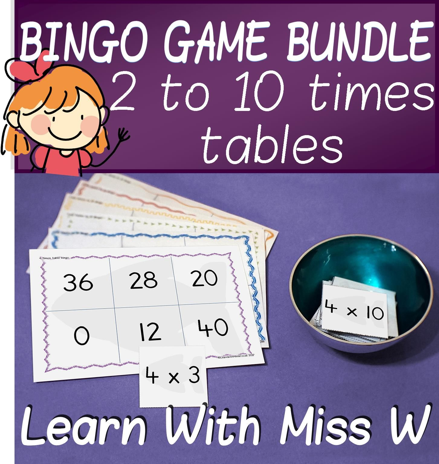 Times Table Bingo Game Pack 2 To 10 Multiplication Facts Bingo