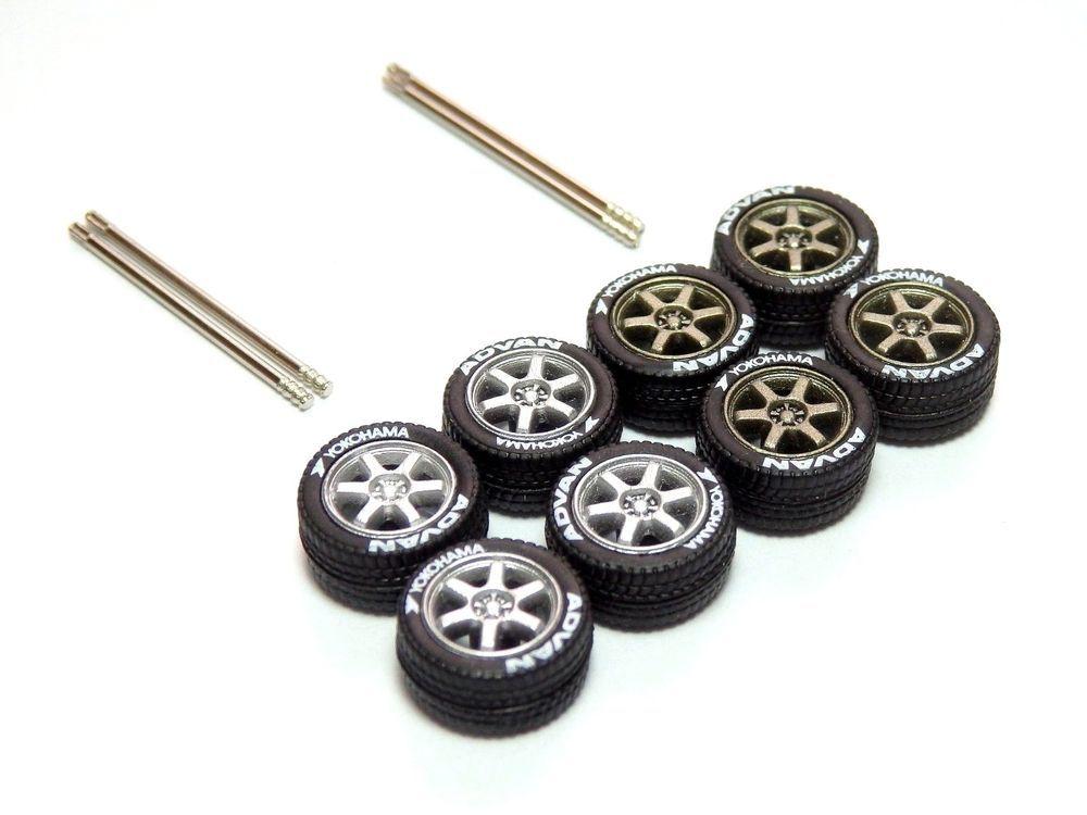 Hot Wheels 4 Spoke Rubber Tires Red Donuts Long Axle fit 1:64 Custom 2019