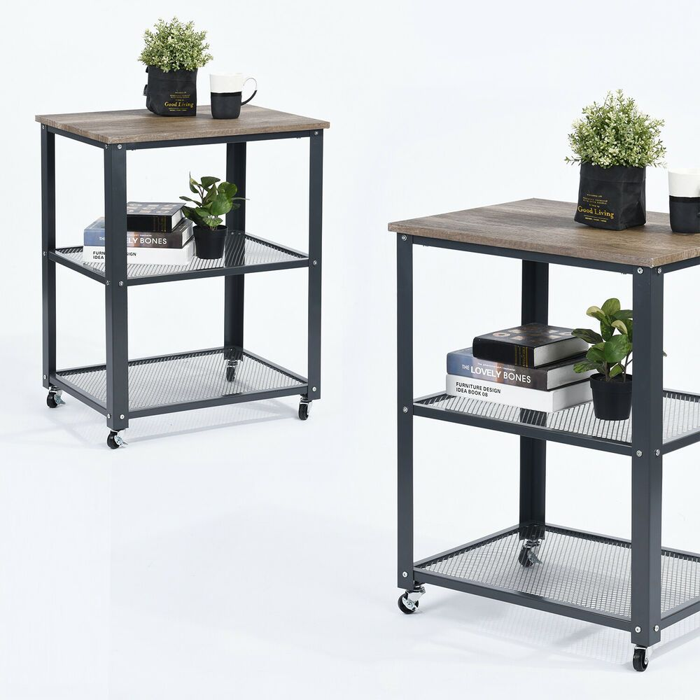 Rolling End Side Table 3 Tier Mdf Wood Top Metal Frame Mesh Layout 60 45 76 5cm Table Mdf Wood Livingroom Layout