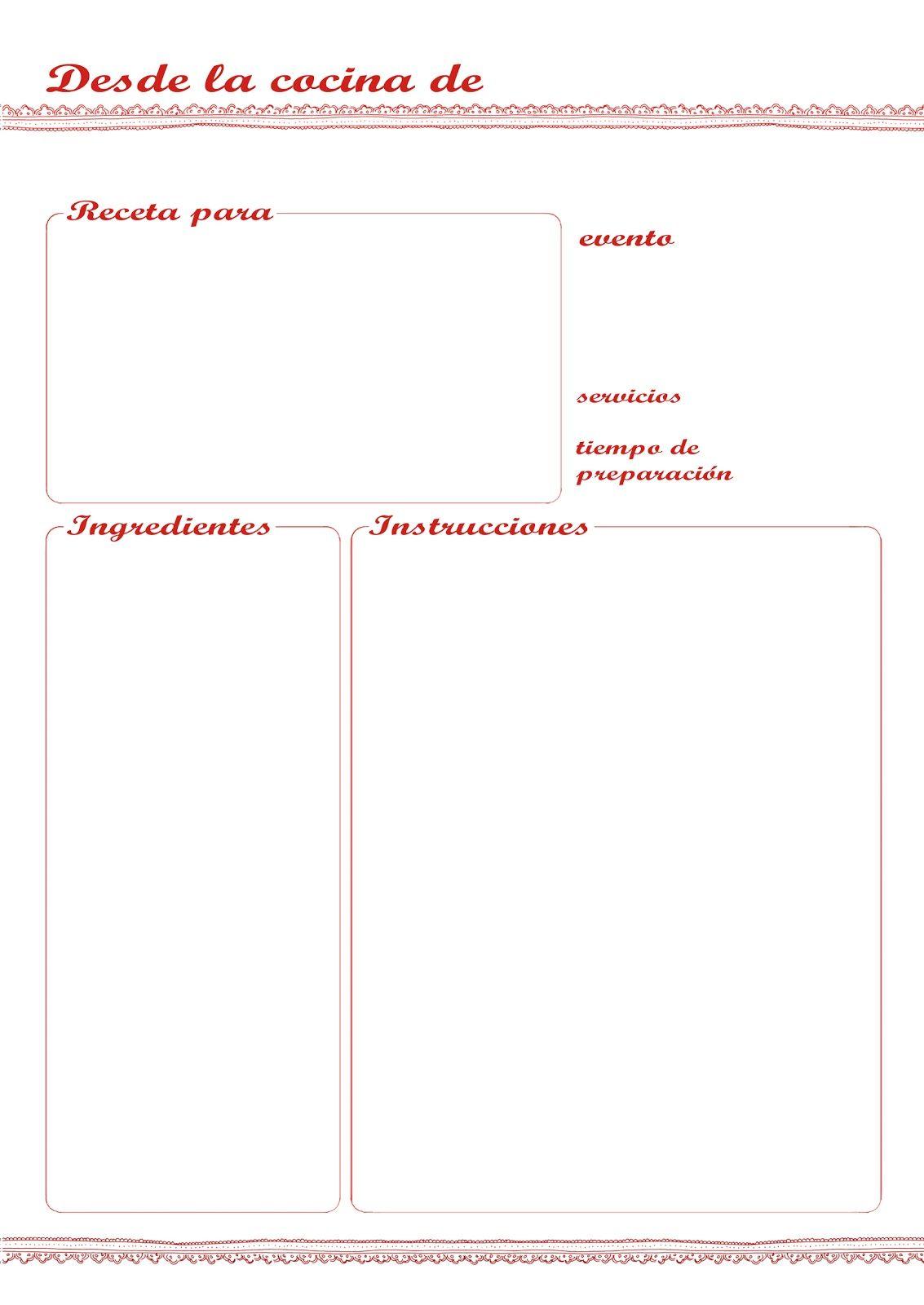 Plantilla recetario manualidades recipe binders for Plantillas de cocina