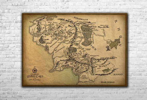 Vintage The Middle Earth Map - Lord Of The Rings Paper Canvas Print ...