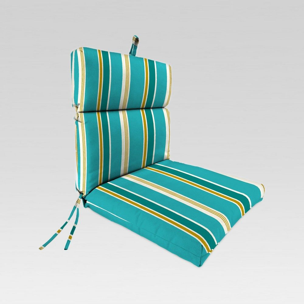 Outdoor French Edge Dining Chair Cushion Blue Stripe Jordan Manufacturing Dining Chair Cushions Outdoor Chair Cushions Chair Cushions
