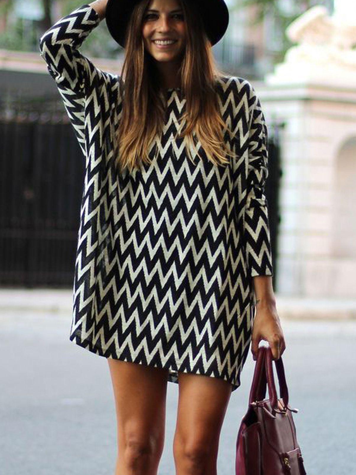 Print Black Geometric Sleeve Long Dress Fast White Women Emmacloth sthQdxrC