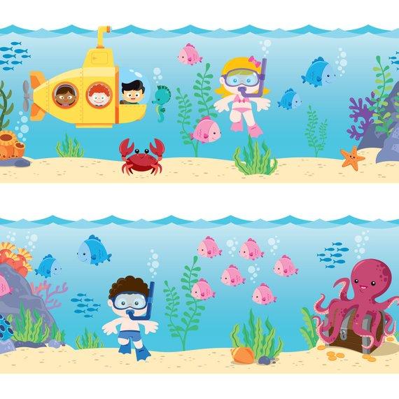 Sea Wallpaper Border Fabric Wall Decal Kids Wallpaper Faixa Decorativa Infantil Aniversario De Tres Anos Bebe Tubarao