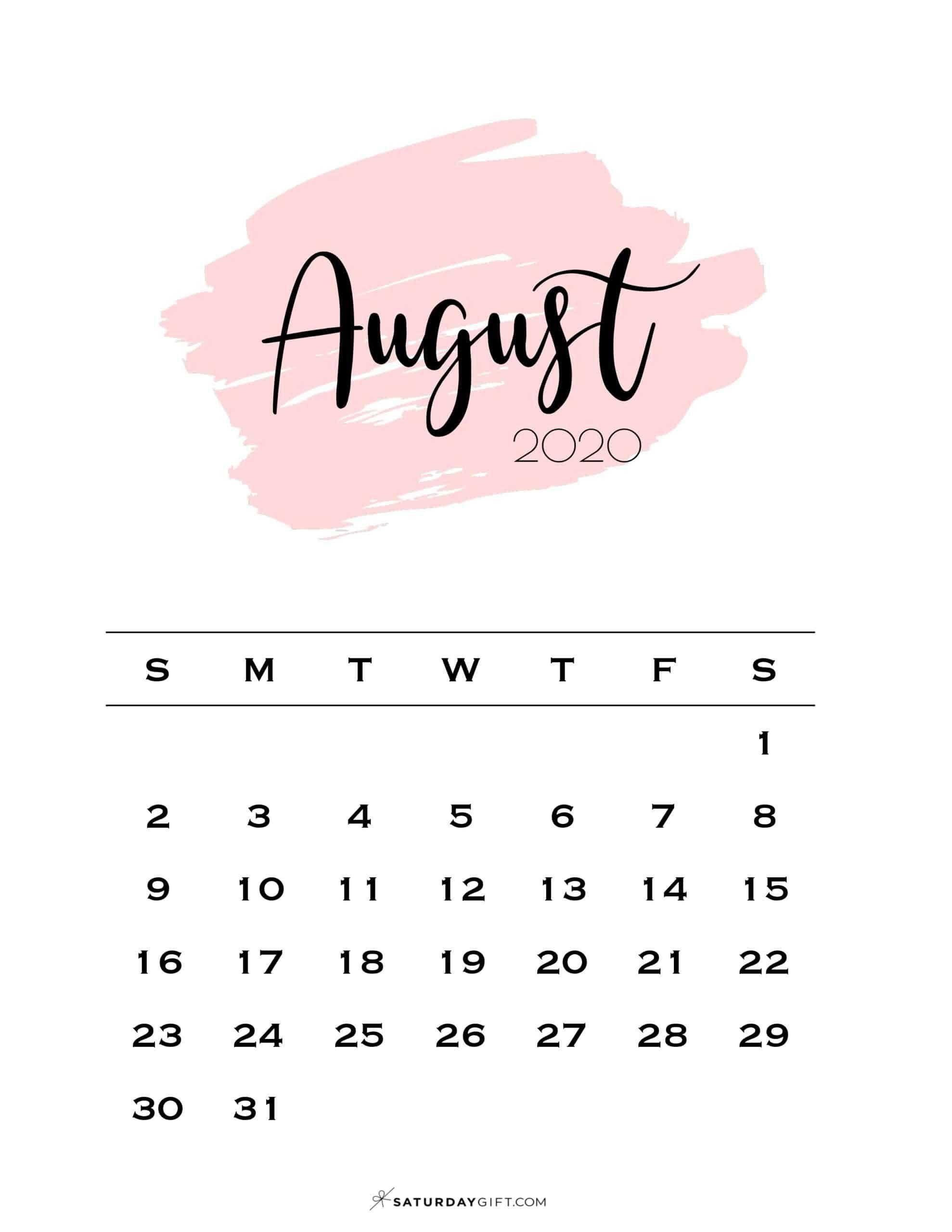 August 2021 Calendar Wallpaper Cute (& Free!) Printable August 2021 Calendar | SaturdayGift in