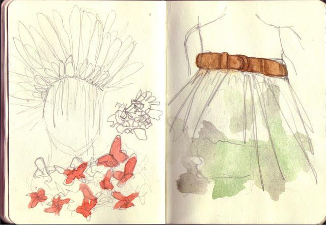Sketch of Alexander McQueen's pieces, pencil/watercolour - more at showtimestitches.blogspot.com