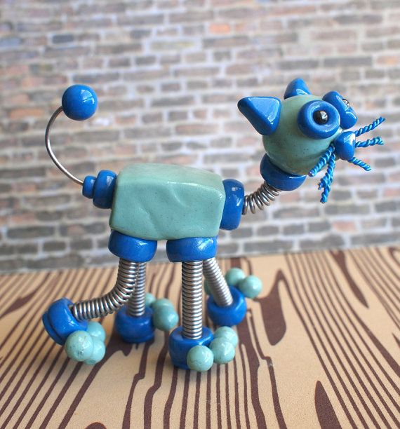 robot cat made with wire and polymer clay | Art - Polymer Clay ...