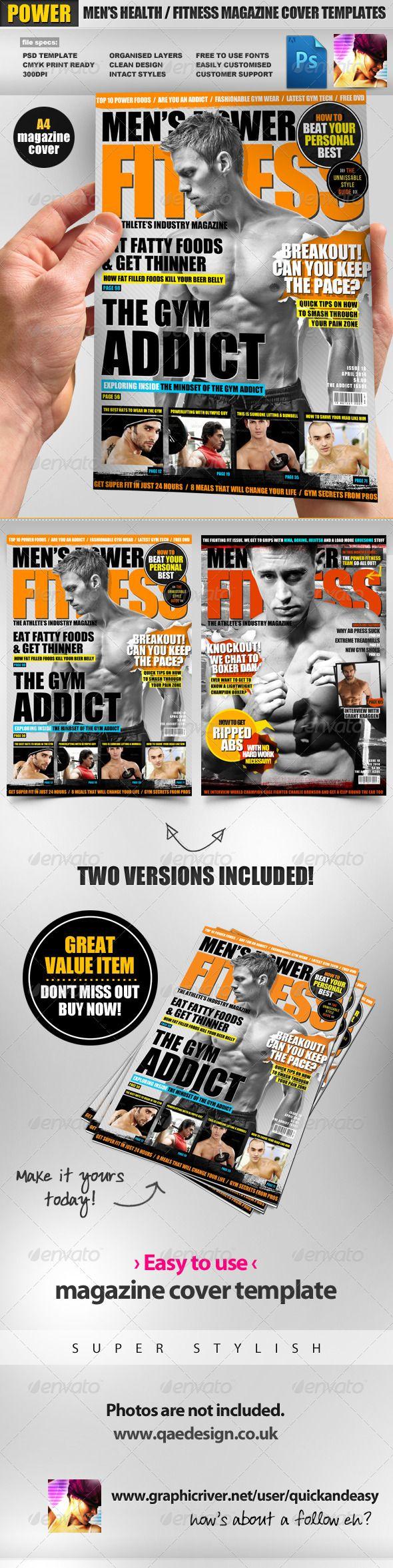 Men\'s Power Fitness Magazine Cover Template | Magazine cover ...